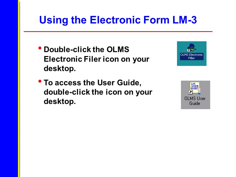 Using the Electronic Form LM-3