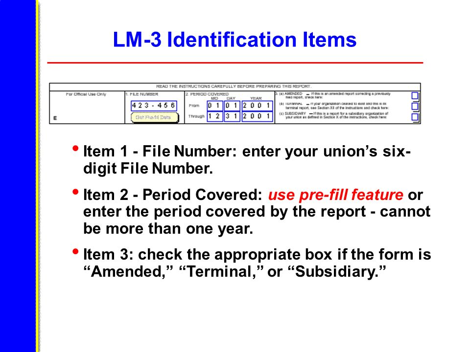 LM-3 Identification Items