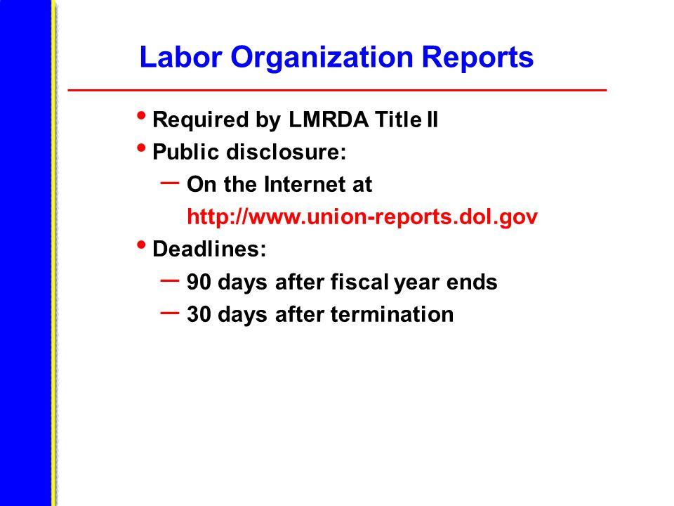 Labor Organization Reports