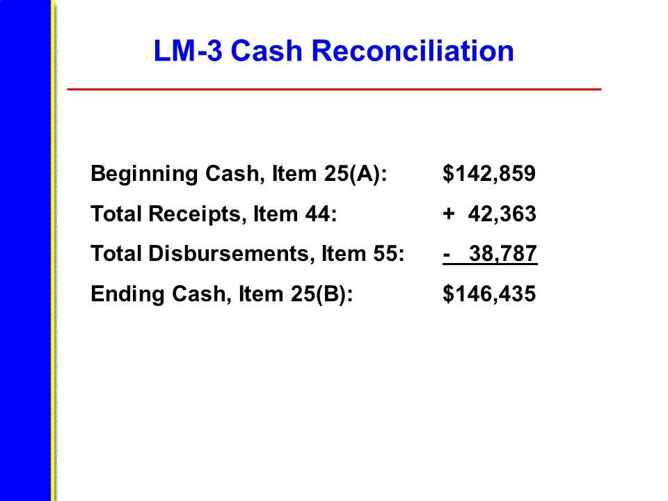 LM-3 Cash Reconciliation