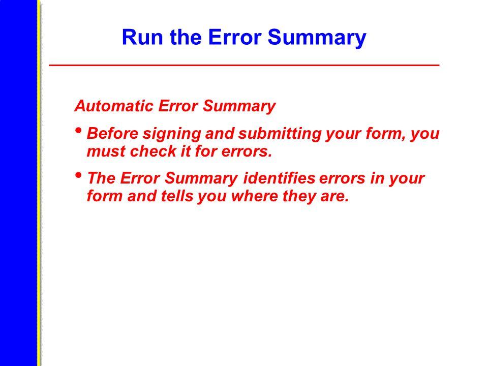 Run the Error Summary Automatic Error Summary