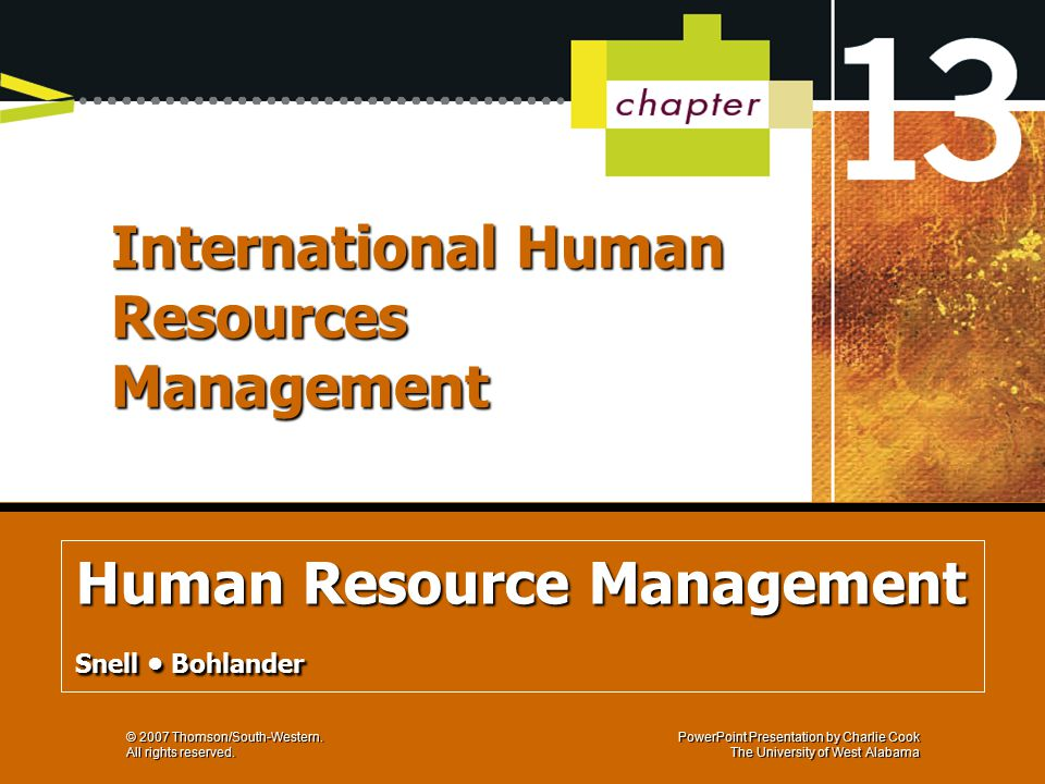 human resource management by bohlander philippine Philippine journal of psychology (2006), vol 39 no 1, pp 146-174  page 2 i 147 human resource management (hrm) is an organizational  function that deals with  among its employees as kinicki, carson, and  bohlander (1992.