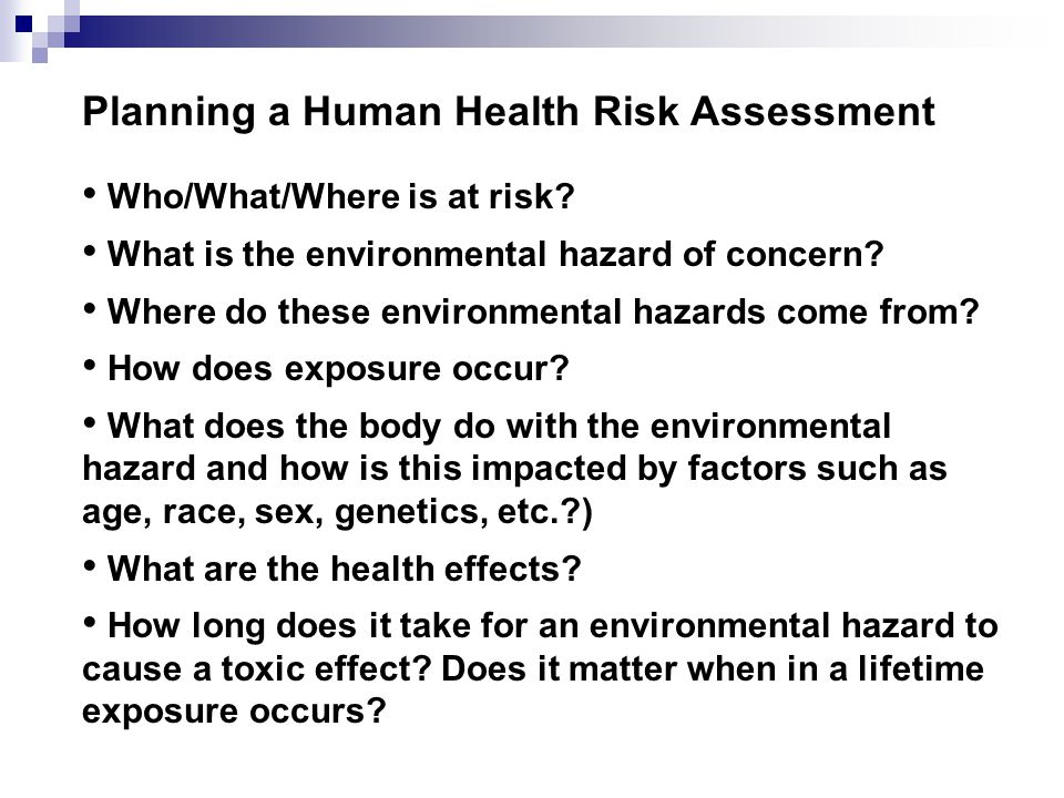 Health Risk Assessment Risk Management Oshwiki Health Risk