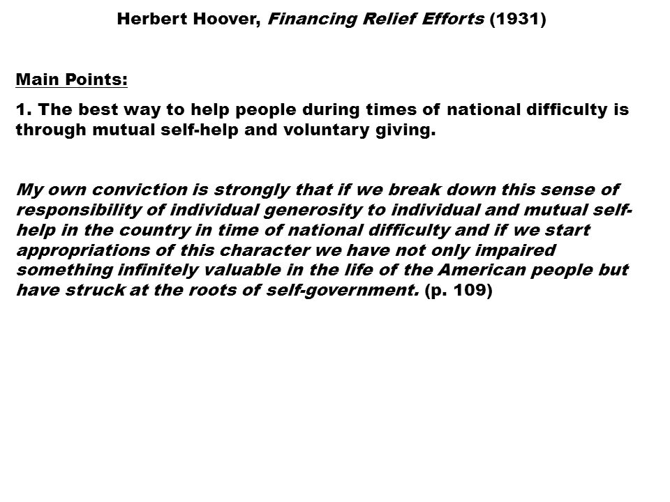 Hoovers relief efforts essay