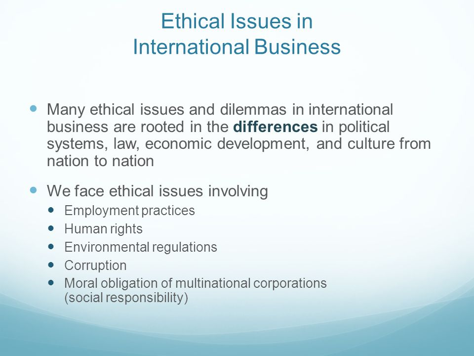 Ethical issues of international trade