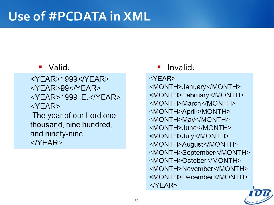 Use of #PCDATA in XML Valid: Invalid: <YEAR>1999</YEAR>