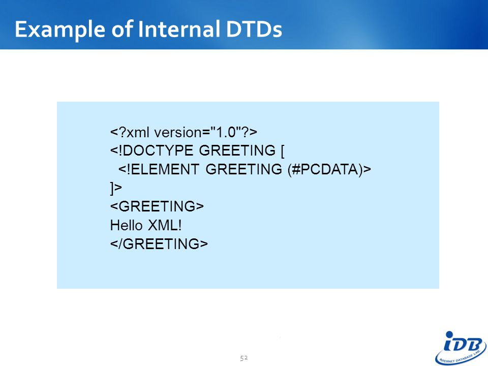 Example of Internal DTDs