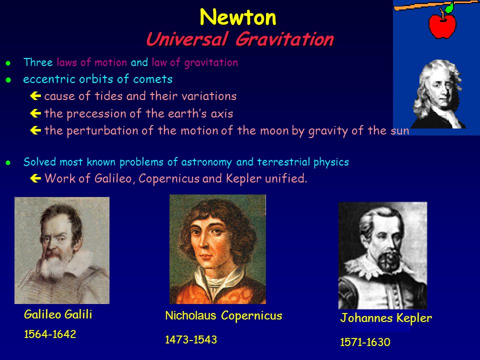 a biography of isaac newton and the discovery of the law of universal gravitation and laws of motion The three laws of planetary motion were proposed by  which of these men formulated the law of universal gravitation sir isaac newton this scientists discovery was used to predict the next coming of halleys comet sir isaac newton the first successful attempt to establish the size of the earth is credited to.