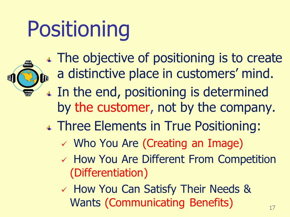 Positioning The objective of positioning is to create a distinctive place in customers' mind.