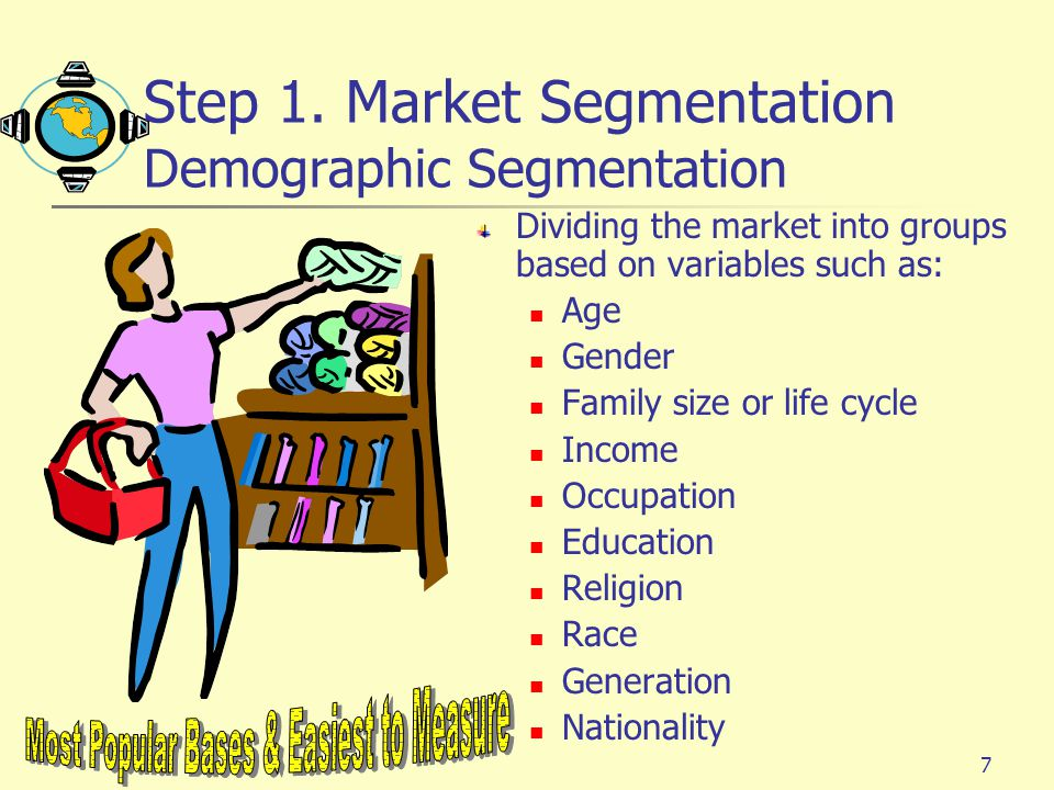 Step 1. Market Segmentation Demographic Segmentation