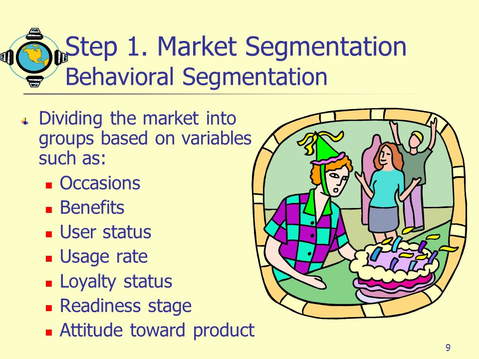 Step 1. Market Segmentation Behavioral Segmentation