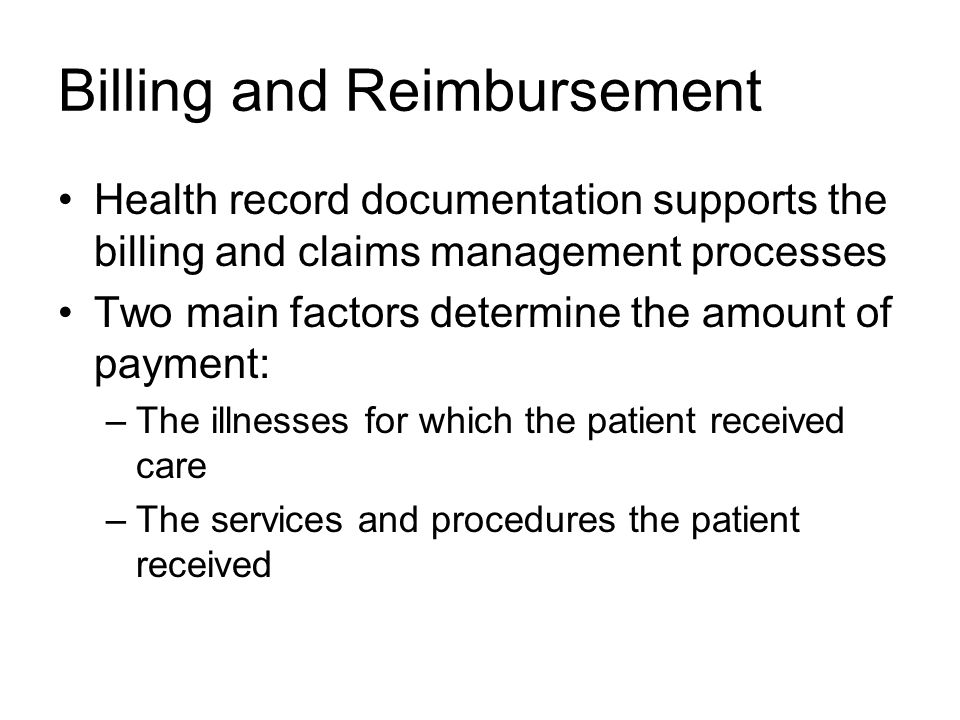 Billing and Reimbursement