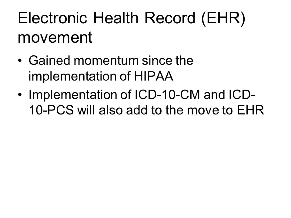 Electronic Health Record (EHR) movement