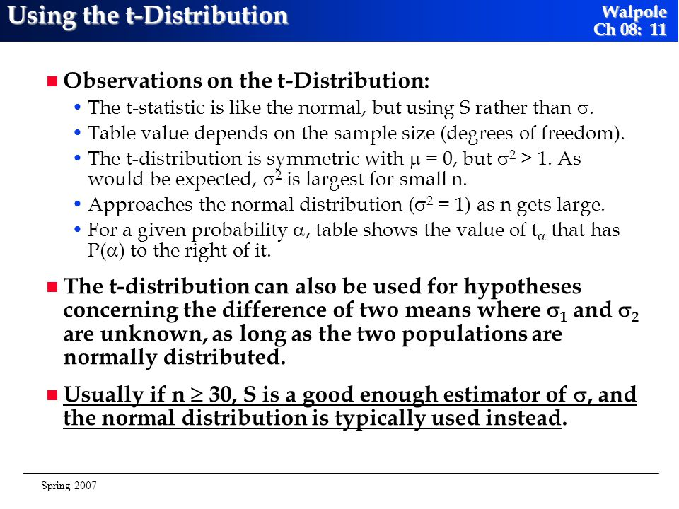 Using the t-Distribution