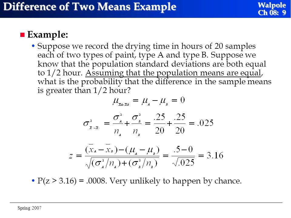 Difference of Two Means Example