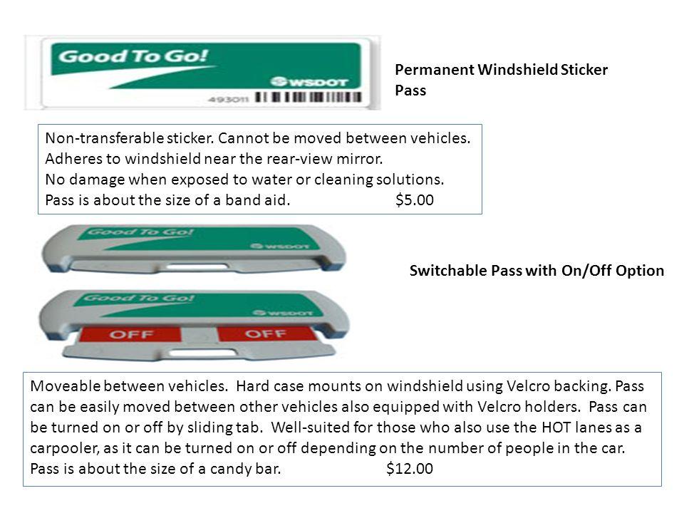 Permanent Windshield Sticker Pass