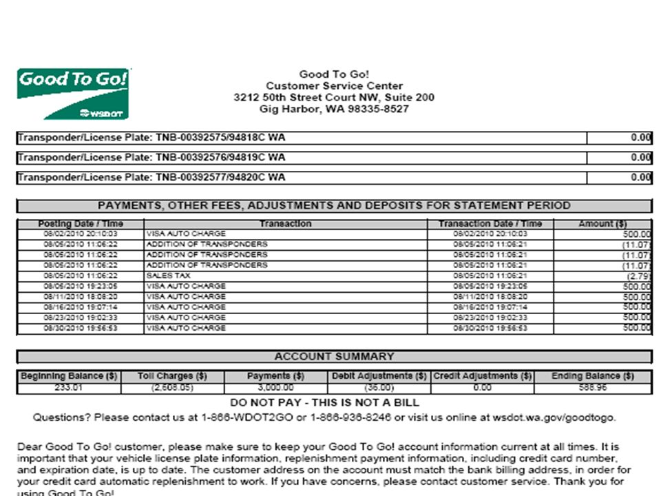 August 2010 charges for Pierce county were $2,608 for Tacoma Narrows Bridge
