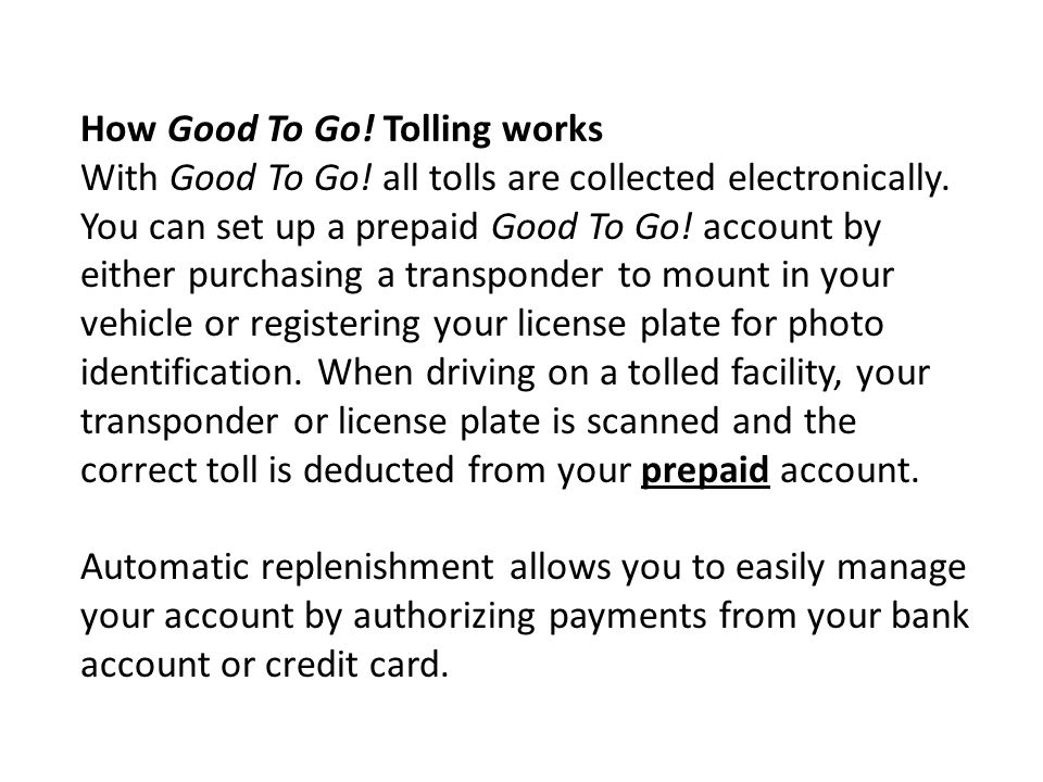 How Good To Go! Tolling works