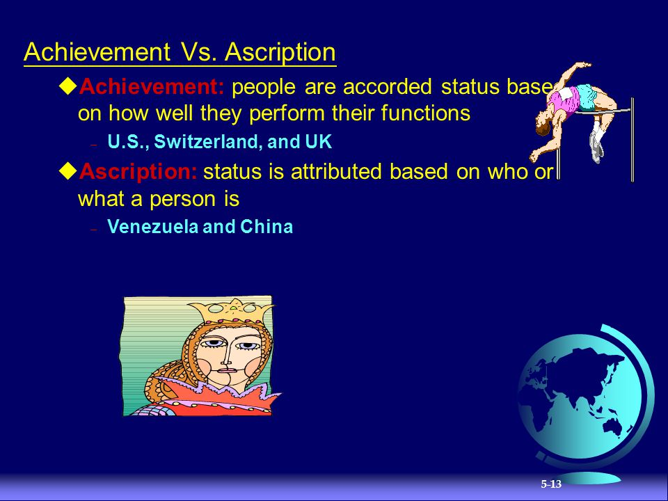 ascription vs achievement Versus neutral relationships specificity versus diffuseness achievement versus  ascription orientation towards time and lnternal versus external control.