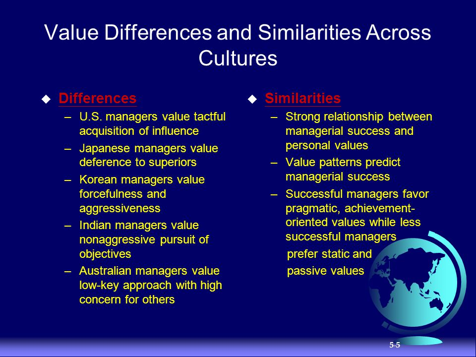 Value Differences and Similarities Across Cultures