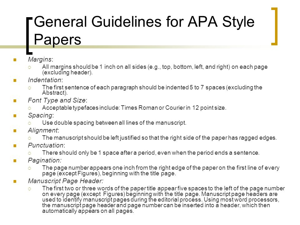 in general most of the parts of an apa-style research paper should be written in General rules for apa reference list  the reference list must include all  references cited in the text of your paper the only exceptions to this rule are  personal.