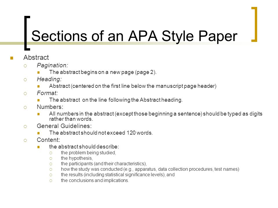 parts of research paper apa This is the second of the two research papers you will be writing in this course you may not work in groups on this paper you must each do your own work the topic must be connected directly to some aspect of psychology the paper must contain all the parts of a research paper: title page: this must be in apa style.