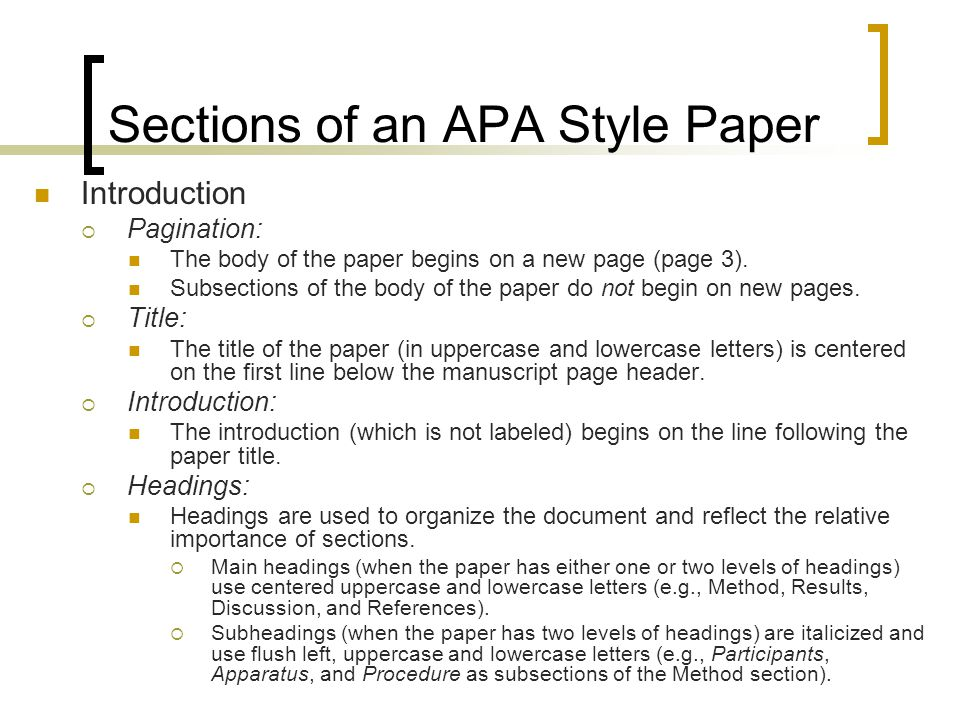 Apa format sections research paper