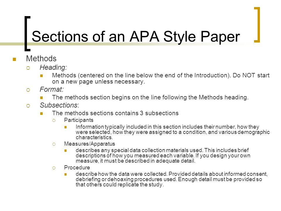 Apa research paper with sections