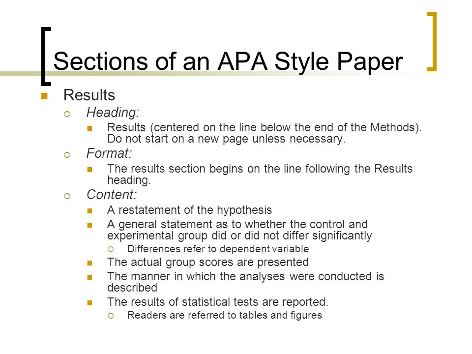 How to Write the Results Section for an APA-Format Research Paper