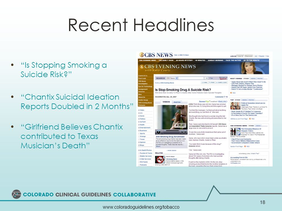 Recent Headlines Is Stopping Smoking a Suicide Risk