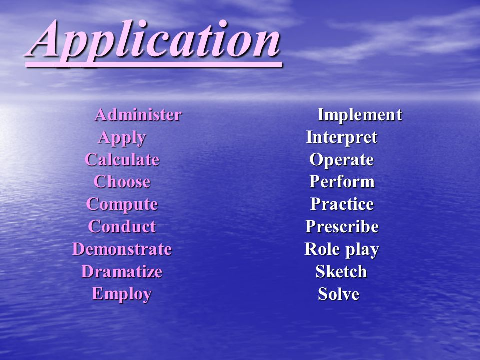 Application Administer Apply Calculate Choose Compute Conduct Demonstrate Dramatize Employ.