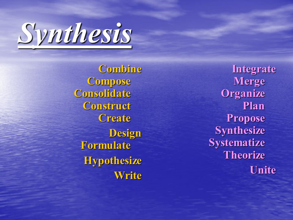 Synthesis Combine Compose Consolidate Construct Create