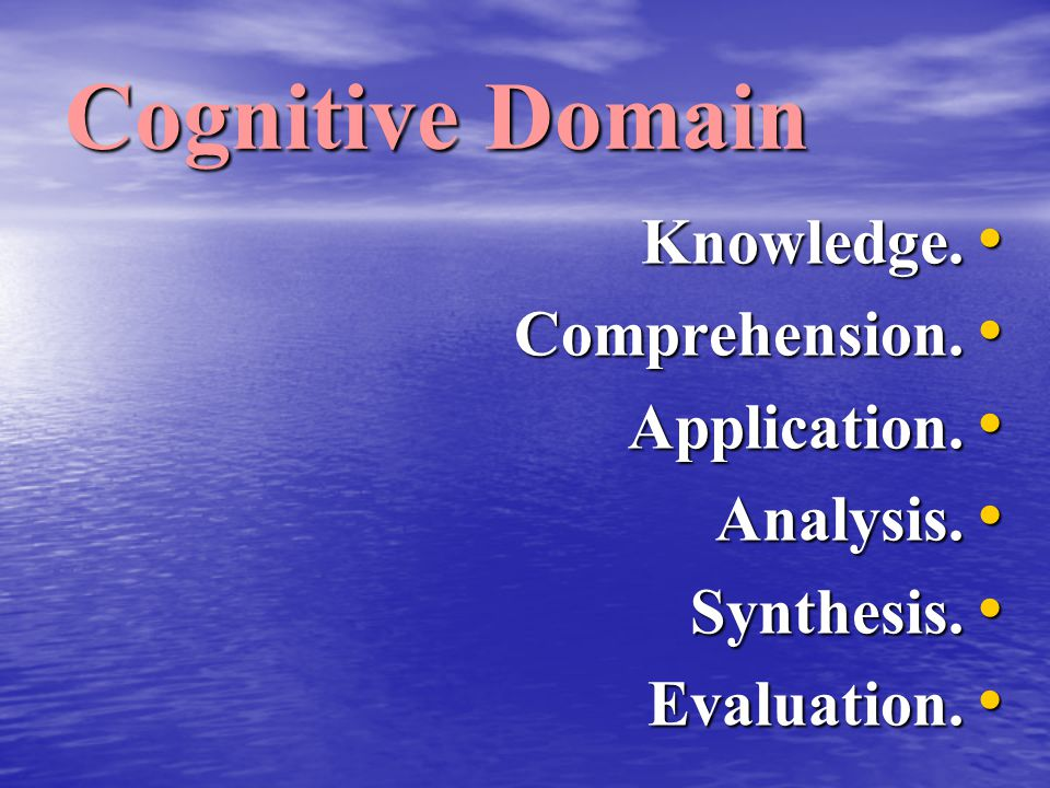 Cognitive Domain Knowledge. Comprehension. Application. Analysis.