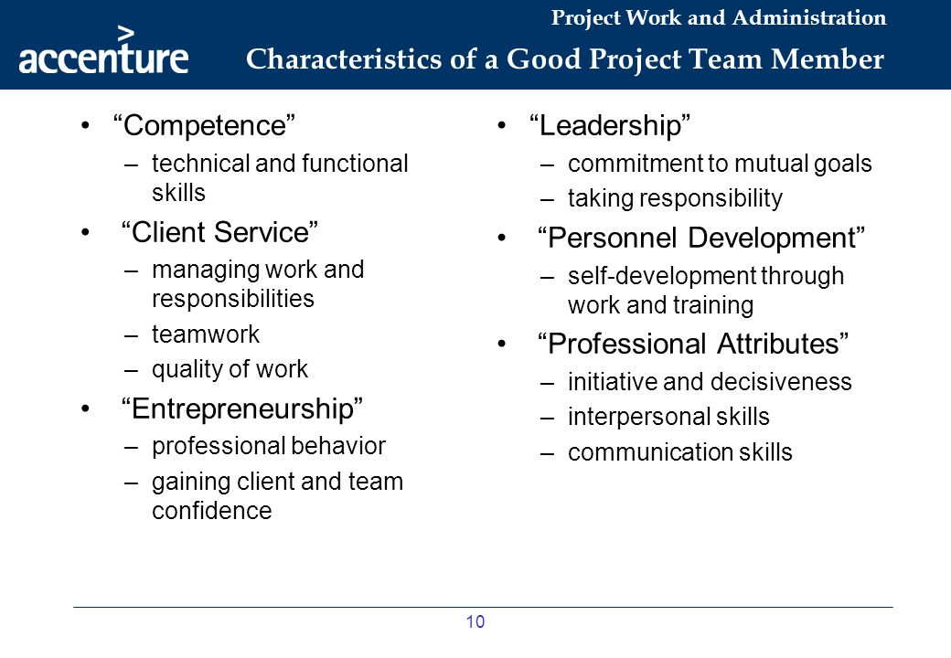 Characteristics of a Good Project Team Member