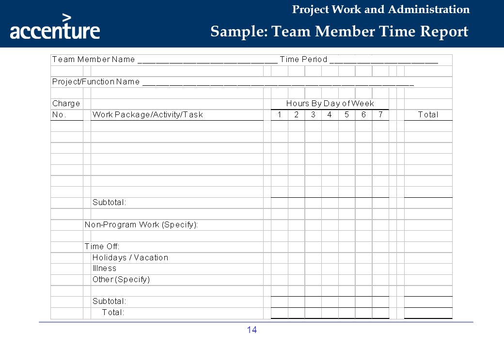 Sample: Team Member Time Report