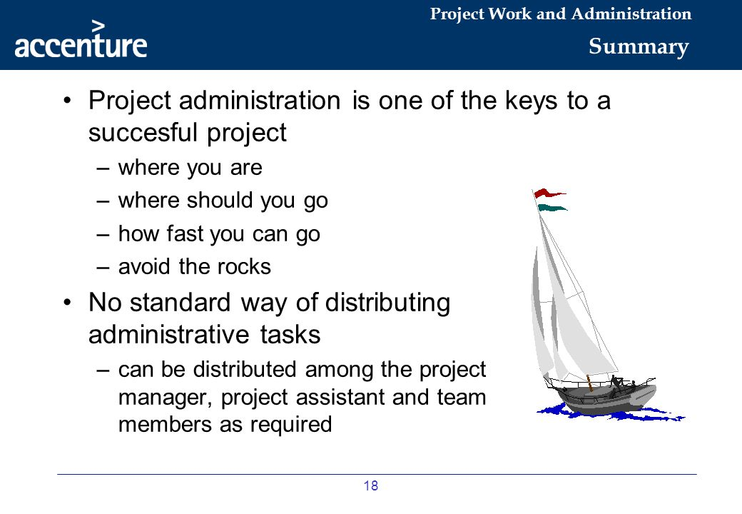 Project administration is one of the keys to a succesful project
