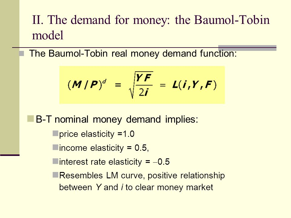money demand function To fulfill its various functions, money must have certain  the stability of the demand for money prior to the 1980s was a key finding of milton friedman .