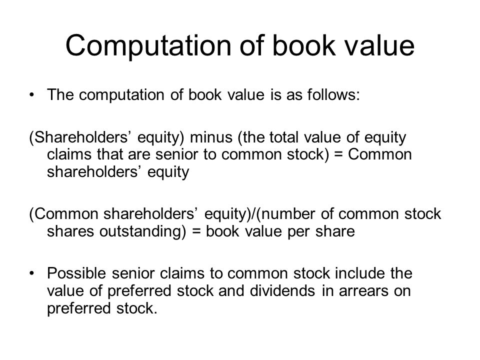 how to find book value of preferred stock