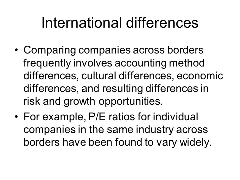 international accounting differences International financial reporting standards (ifrs) is the accounting method  that's used in many countries across the world it has some key differences from  the.