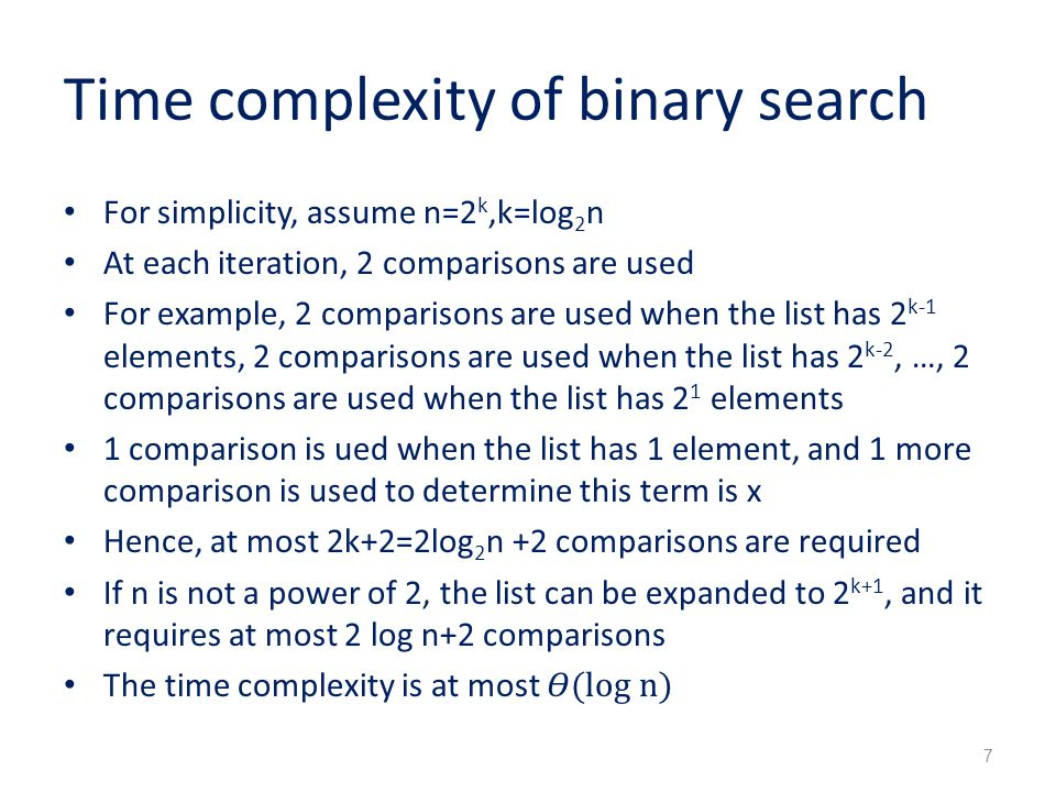 Binary search worst case time complexity