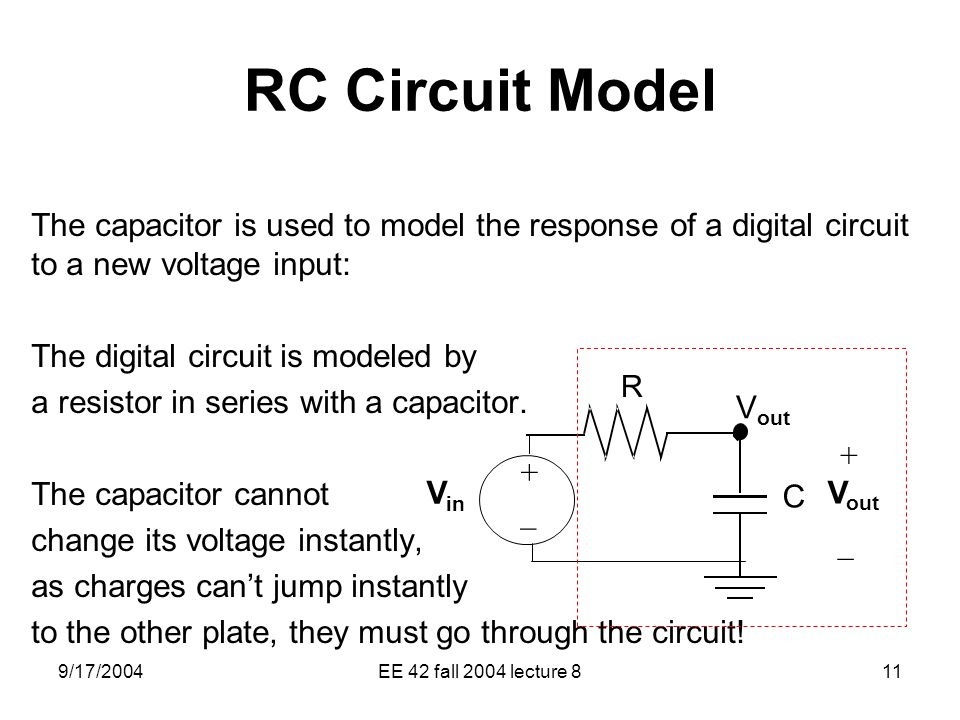 RC Circuit Model The capacitor is used to model the response of a digital circuit to a new voltage input: