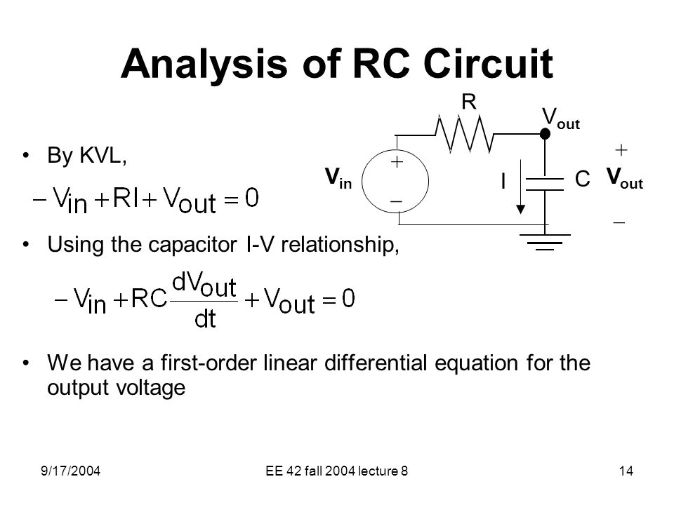 Analysis of RC Circuit Vout + By KVL,
