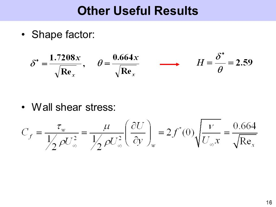 Other Useful Results Shape factor: Wall shear stress: