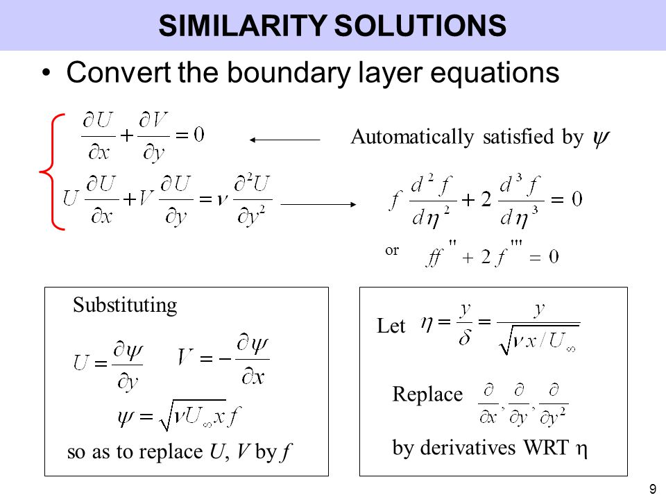 Convert the boundary layer equations