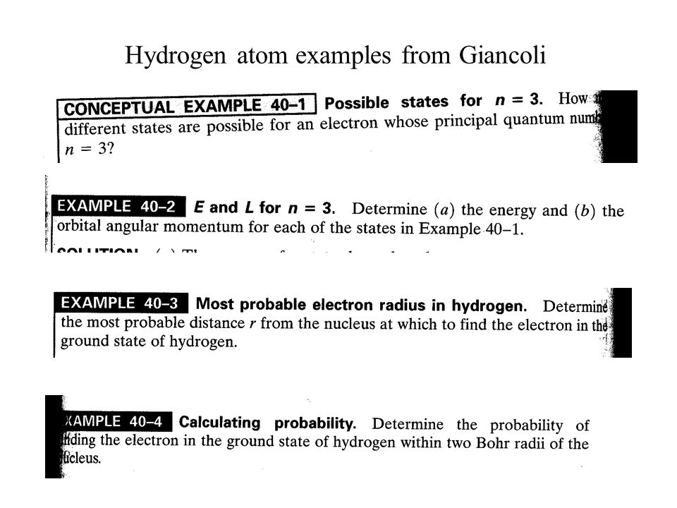 Hydrogen atom examples from Giancoli