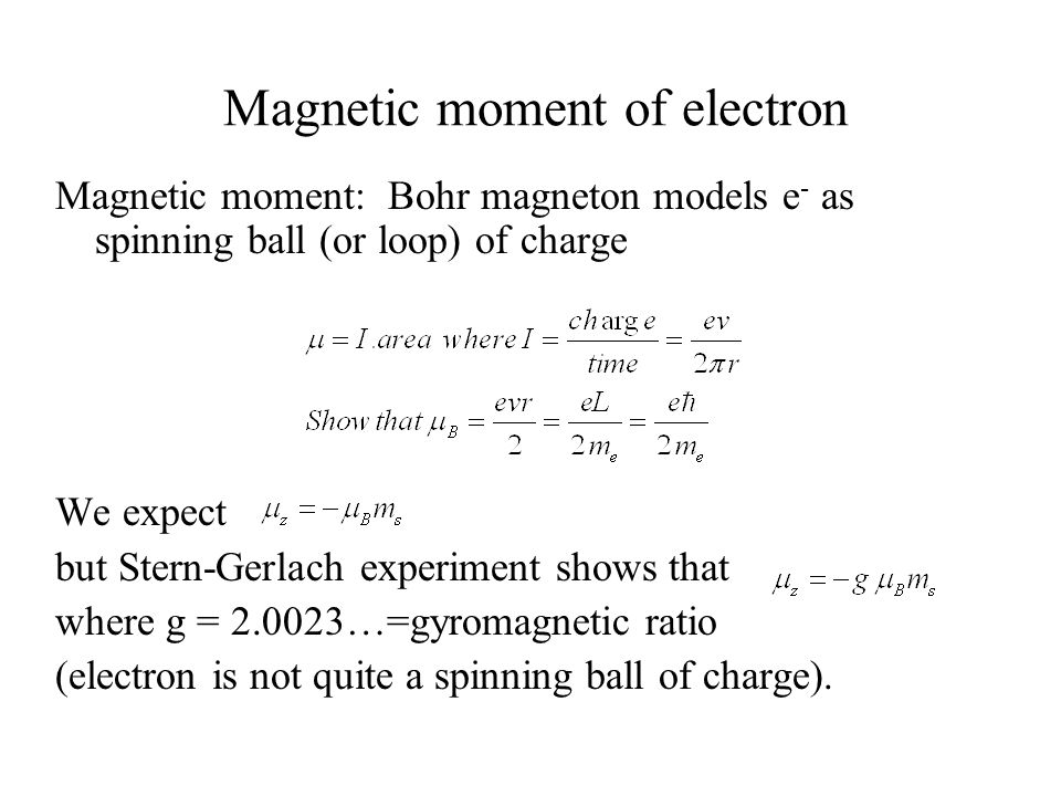 Magnetic moment of electron