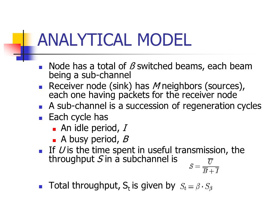 ANALYTICAL MODEL Node has a total of ß switched beams, each beam being a sub-channel.