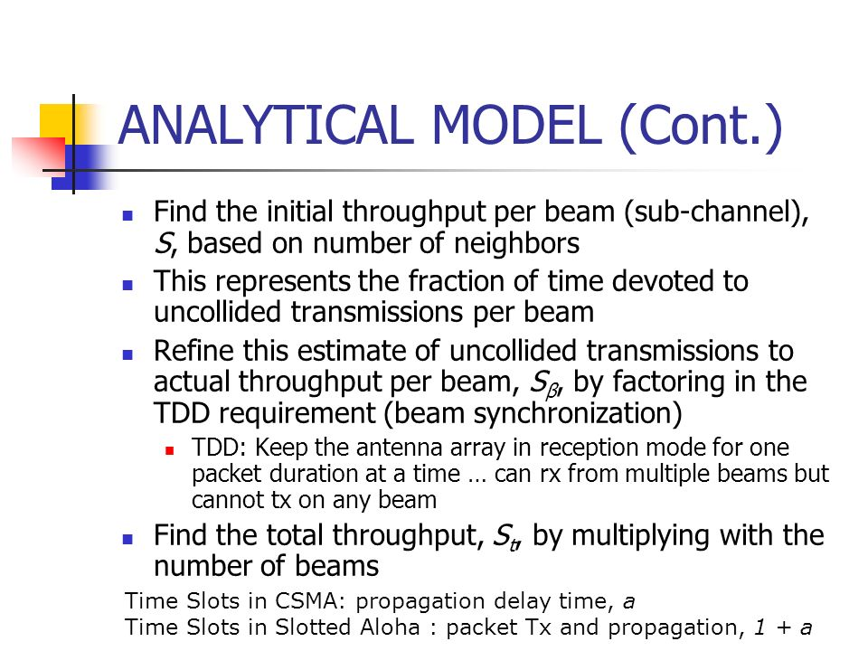 ANALYTICAL MODEL (Cont.)