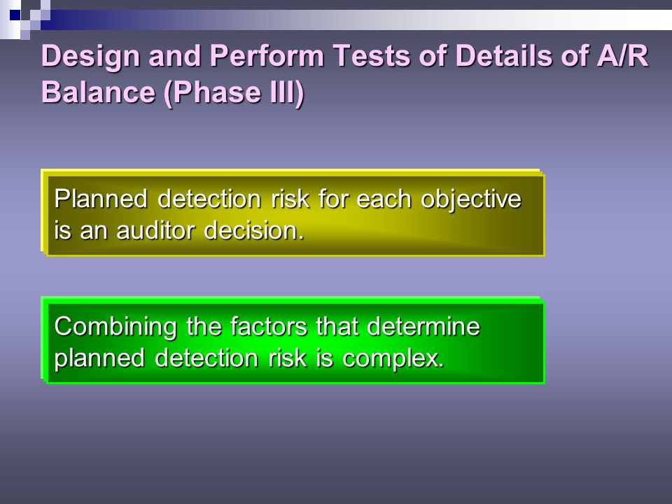 Design and Perform Tests of Details of A/R Balance (Phase III)