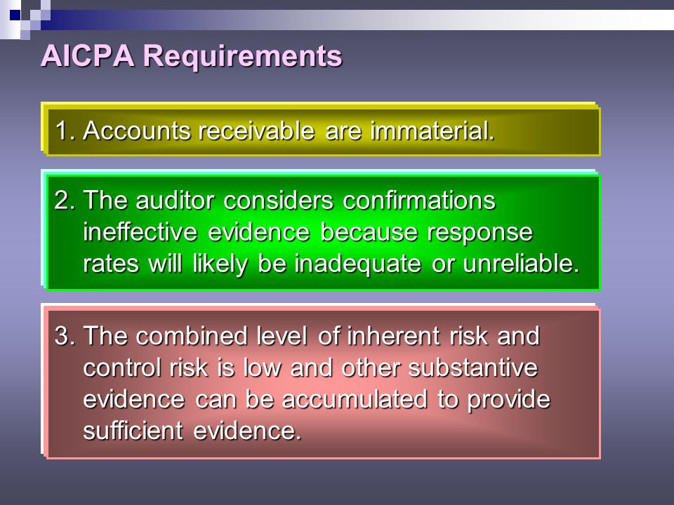 AICPA Requirements 1. Accounts receivable are immaterial.
